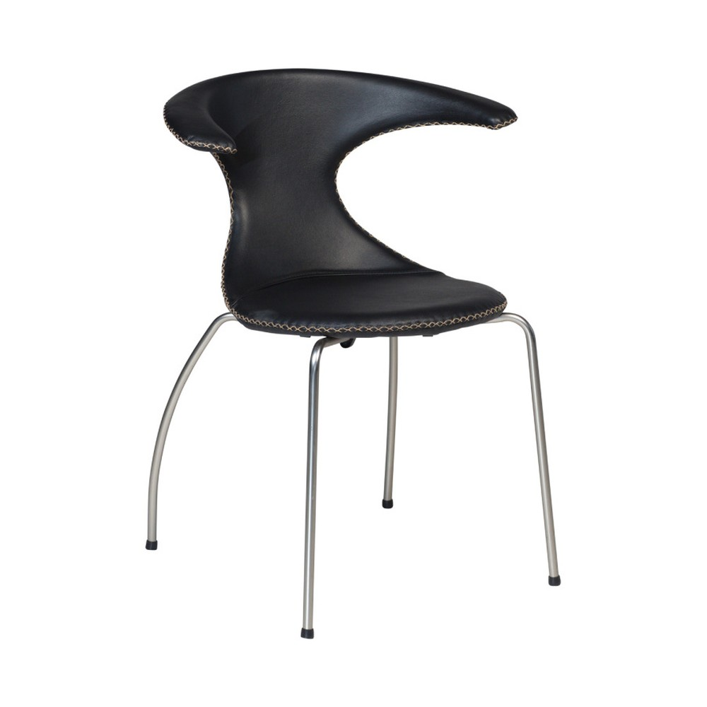 Čierna jedálenská stolička s matnou kovovou podnožou DAN–FORM Flair