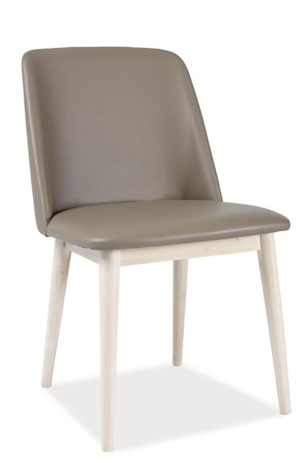 NETIK jedálenská stolička, dub bielený/béžová