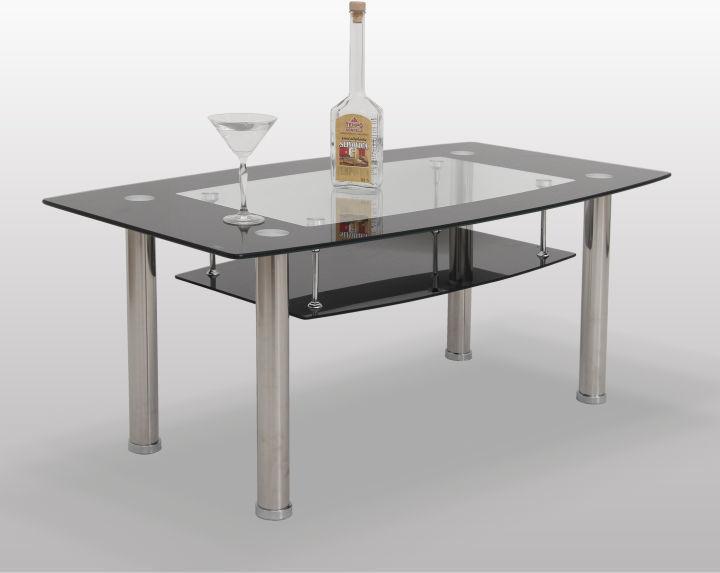 Konferenčný stolík, sklo/oceľ, BASEL - ERVIN