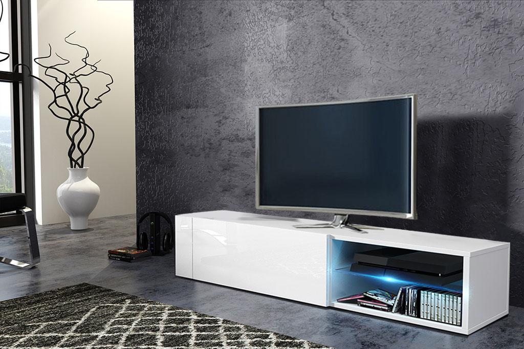 TV stolík/skrinka Best (biela + lesk biely)