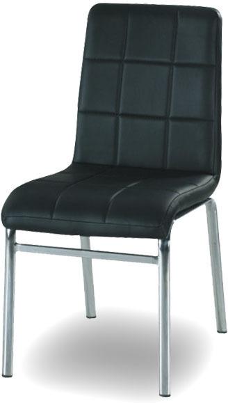 Chrómová stolička, chróm/ekokoža čierna, DOROTY NEW