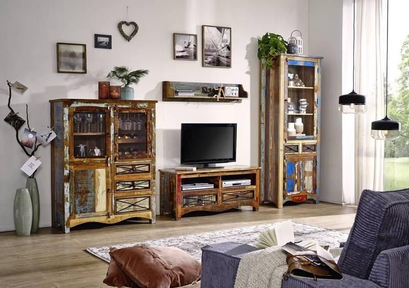 Masiv24 - OLDTIME Obývacia stena indické staré drevo, lakované