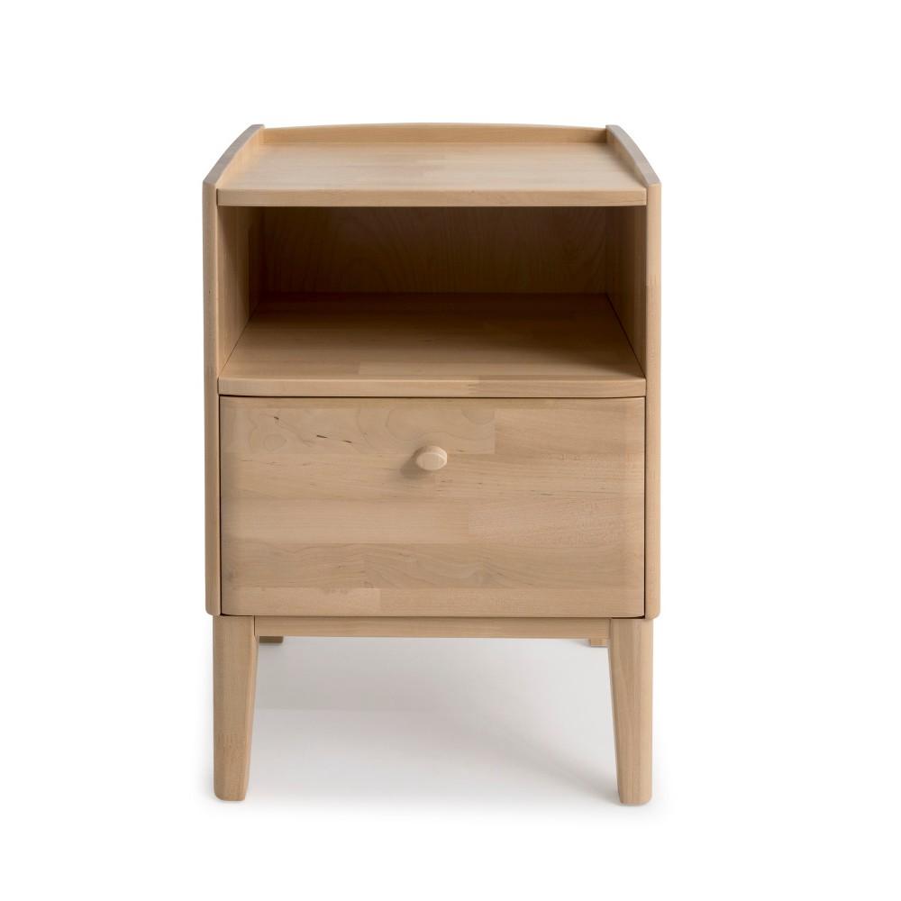 Ručne vyrábaný nočný stolík z masívneho brezového dreva so zásuvkou Kiteen Matinea