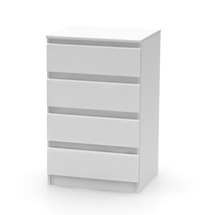 TEMPO KONDELA 4 šuplíková komoda, biela, HANY 014