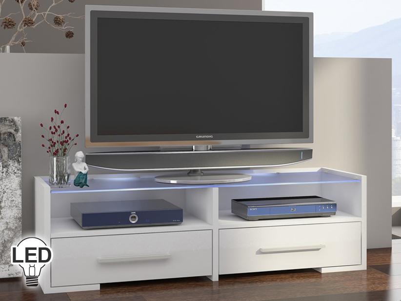 TV stolík/skrinka Semprio (biela + lesk biely) *výpredaj