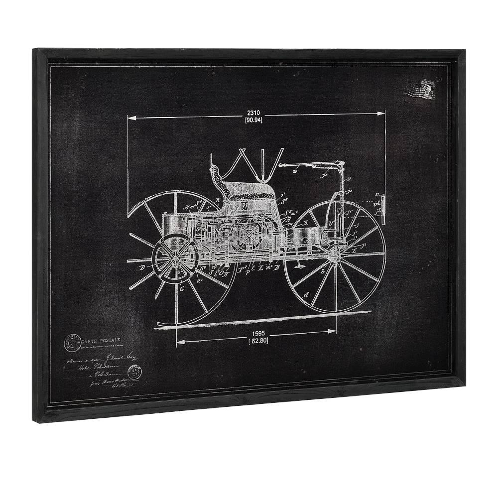 [art.work] Dizajnový obraz na stenu - hliníková doska - veterán (nákres) - zarámovaný - 60x80x2,8 cm