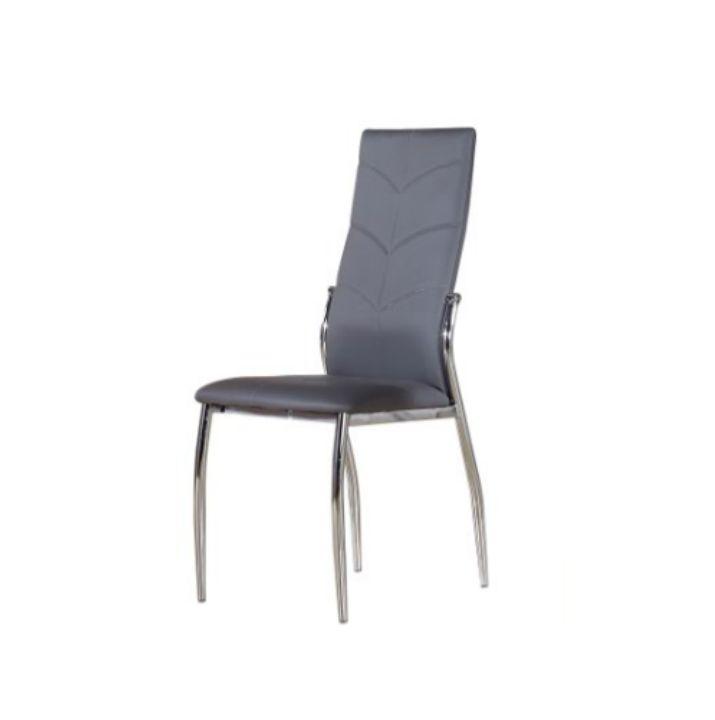 Stolička, ekokoža sivá/chróm, MALISA