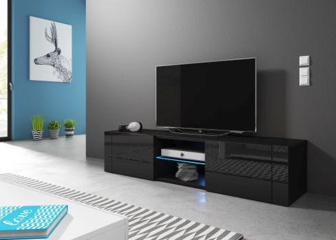 TV stolík/skrinka Hit (čierny lesk + čierna matná)