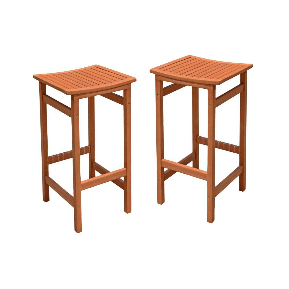 Sada 2 záhradných barových stoličiek z eukalyptového dreva ADDU Palmdale