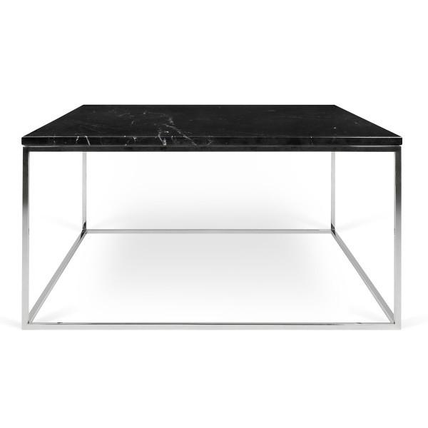 Čierny mramorový konferenčný stolík s chrómovými nohami TemaHome Gleam, dĺžka 75cm