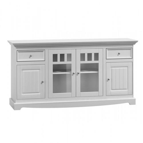 Biely nábytok Belluno Elegante, 4-dverová drevená komoda z masívu, biela