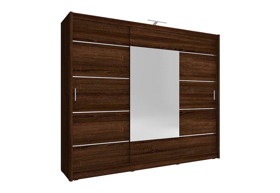 Šatníková skriňa WHITNEY 250 ALU, 62x214x250 cm, čokoláda