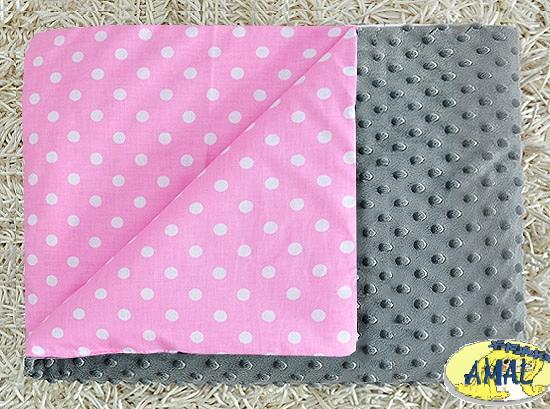 AMAL Deka MINKY sivá, Ružové hrášky, 75x100 cm