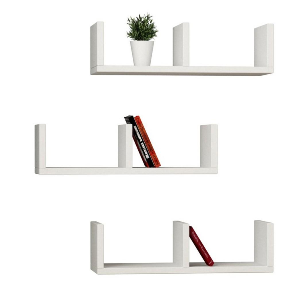 Sada 3 bielych nástenných políc na knihy Homemania U Model