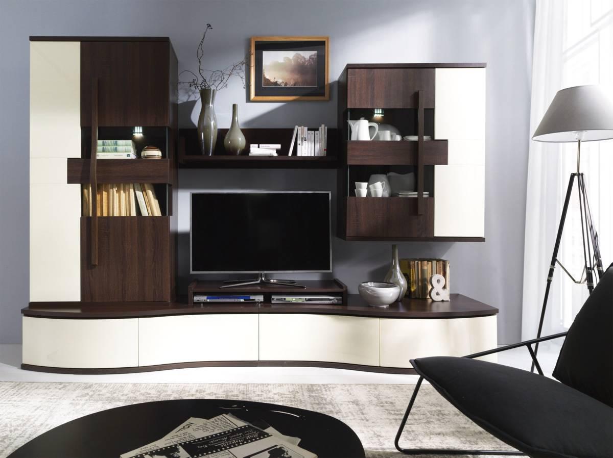Dizajnová obývacia stena HANELL A, sosna/choco