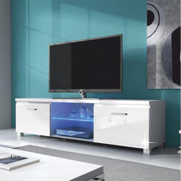 TEMPO KONDELA LUGO 2 TV stolík - biela / biely vysoký lesk