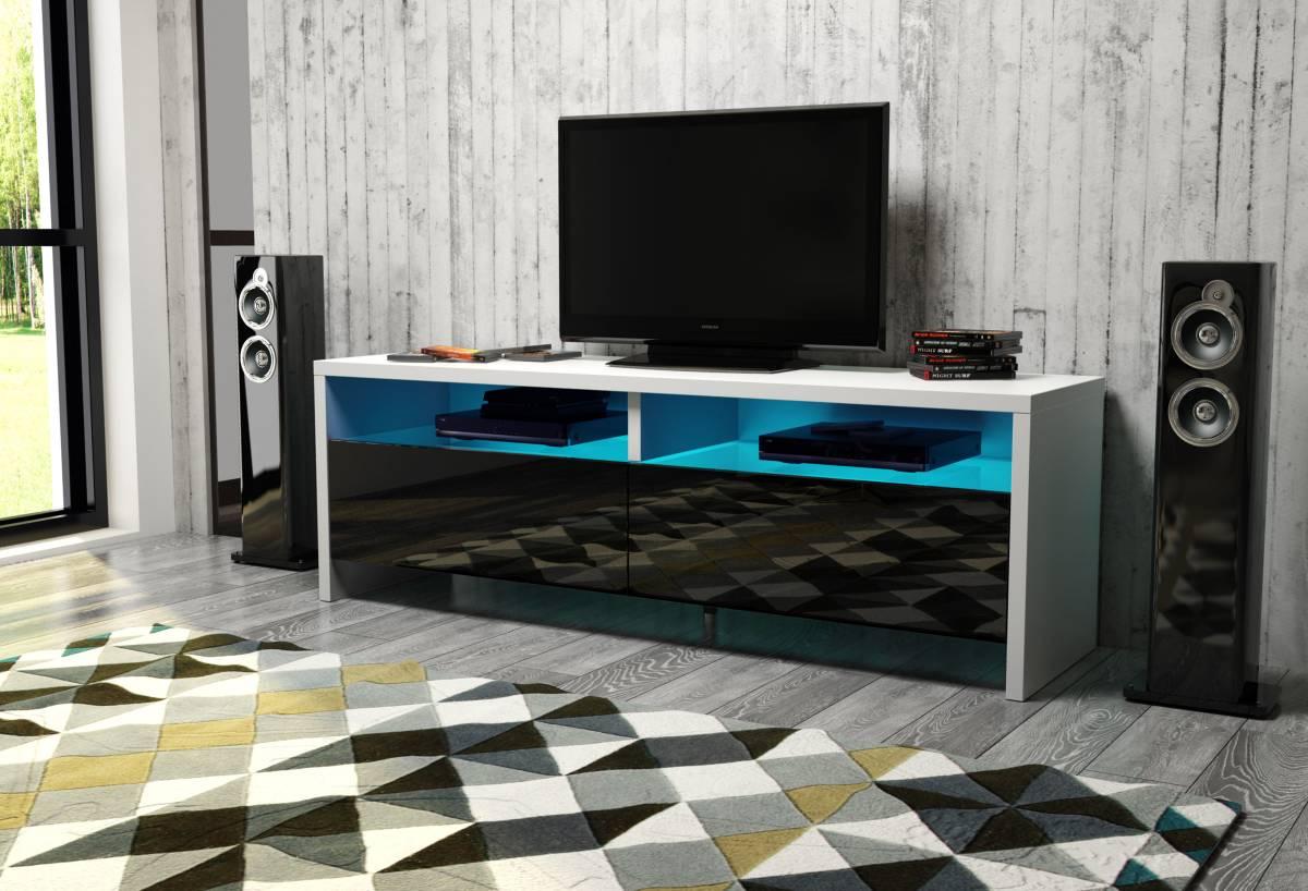 TV stolík/skrinka Caracas (biela + lesk čierny)