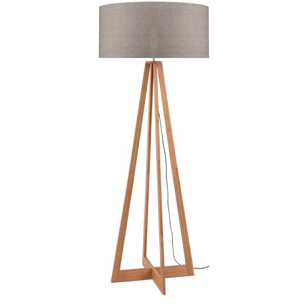 Stojacia lampa s béžovým tienidlom a konštrukciou z bambusu Good&Mojo Everest