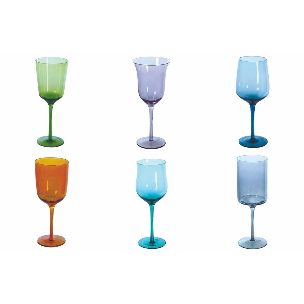 Sada 6 farebných pohárov na víno Villa d'Este Cromite Calico, 420 ml
