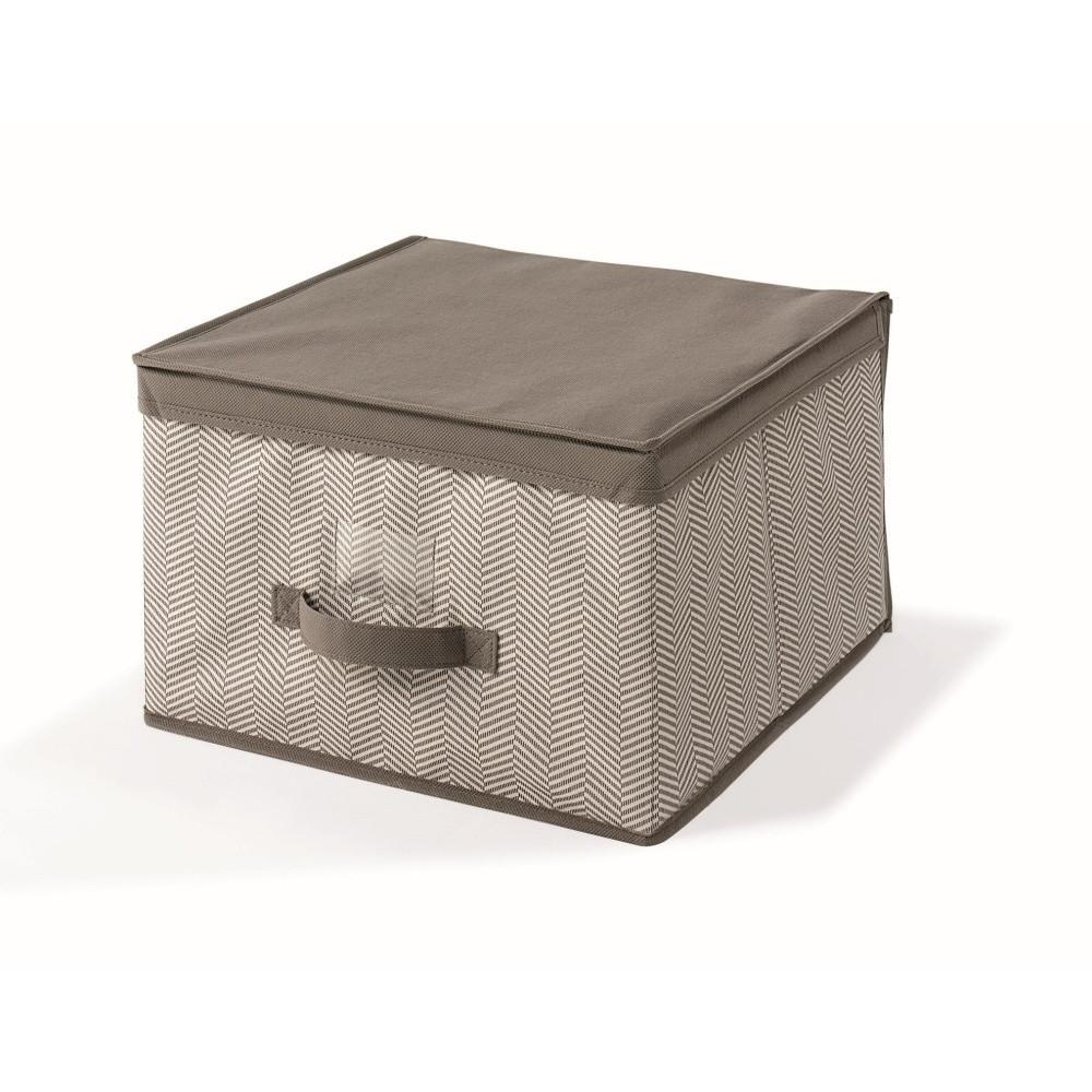 Hnedý uložný box s vrchnákom Cosatto Twill, 40 x 40 cm