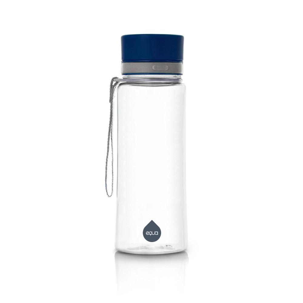 Plastová fľaša s modrým viečkom Equa Plain, 600 ml
