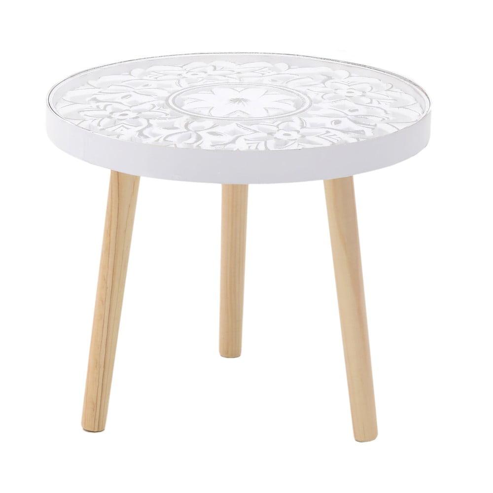 Biely odkladací stolík z brezového dreva InArt Antique, ⌀ 42 cm