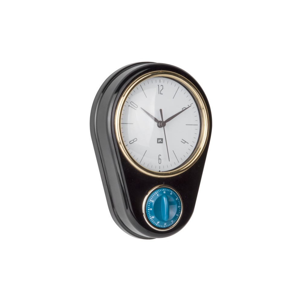 Čierne nástenné hodiny s kuchynskou minútkou PT LIVING