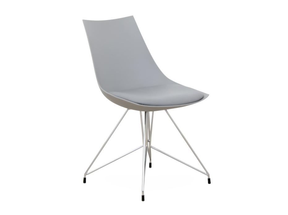 Jedálenská stolička Chrome (sivá + chróm)