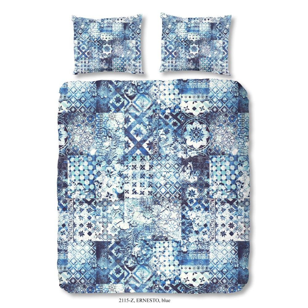 Obliečky na dvojlôžko z bavlneného saténu Muller Textiels Sahara Azul, 200×200 cm