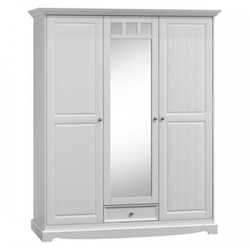 Biely nábytok Šatníková skriňa Belluno Elegante 3D, biela, masív, borovica