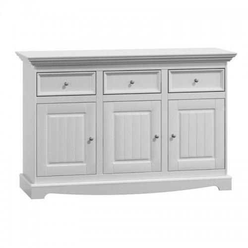 Biely nábytok Belluno Elegante 3.3, drevená komoda, biela, masív, borovica