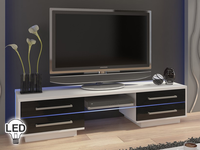 TV stolík/skrinka Laguna (biela + lesk čierny)
