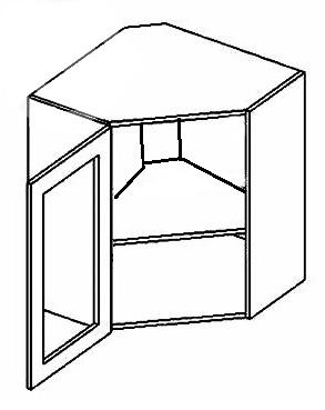 WR60W CZ P/L horná rohová vitrína - číre sklo, vhodná ku kuchyni MERKURY