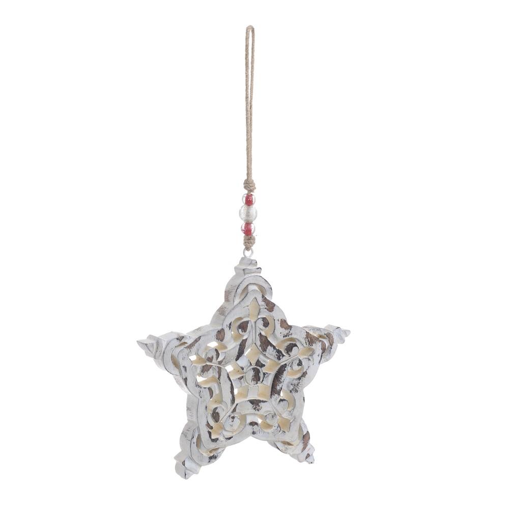 Vianočná drevená závesná dekorácia v tvare hviezdy InArt Celina