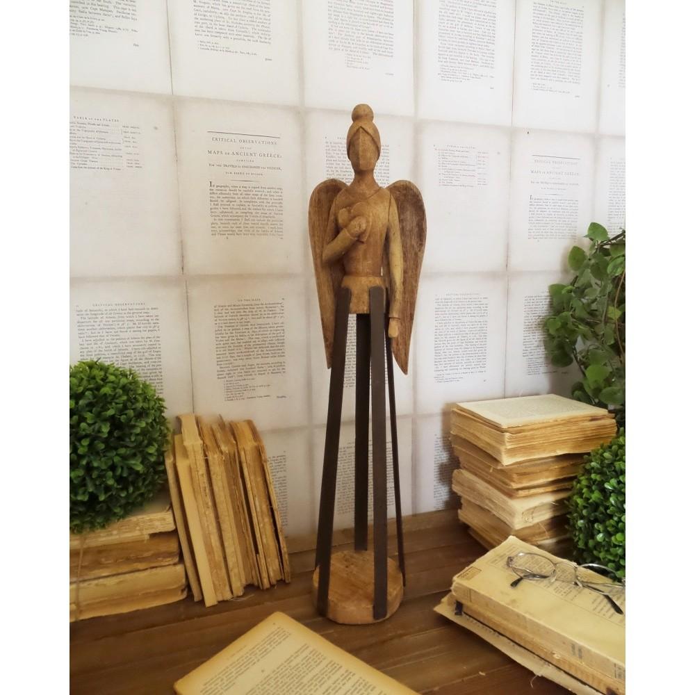 Dekorácia z mangového dreva Orchidea Milano Angel Mango Wood, výška 58 cm
