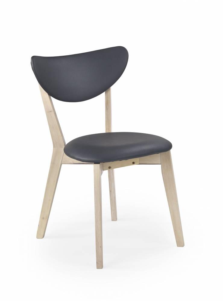 Jedálenská stolička Polo (white washed wood + sivá)