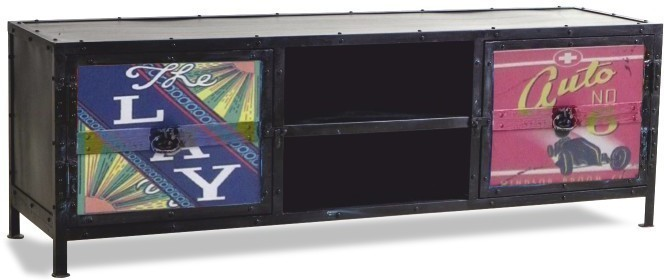 TV stolík/skrinka, čierna/farebný mix, IMAGE