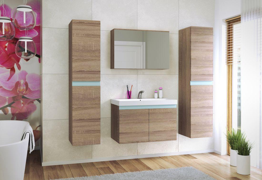 Koupelnová sestava + umyvadlo SIMBA, bílá/sonoma