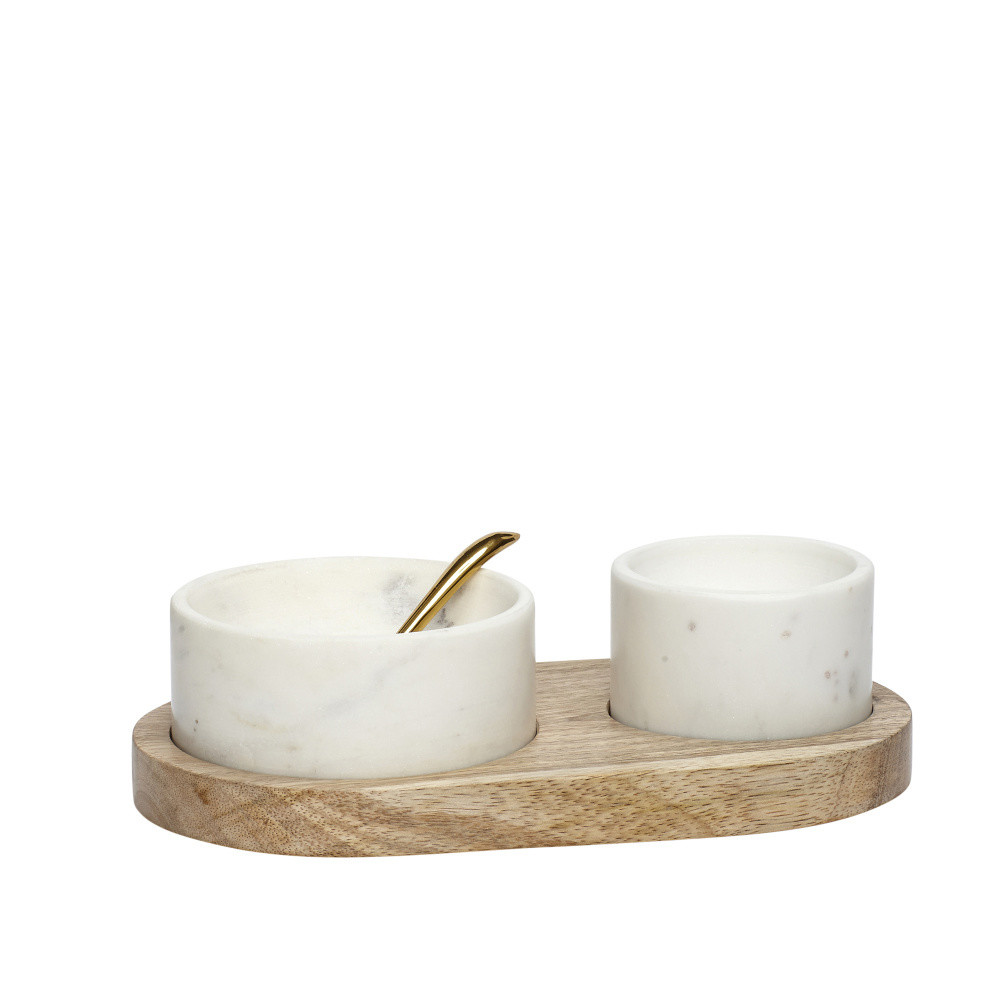 Set dvoch mramorových misek, lyžičky a tácky z mangového dreva Hübsch Festum