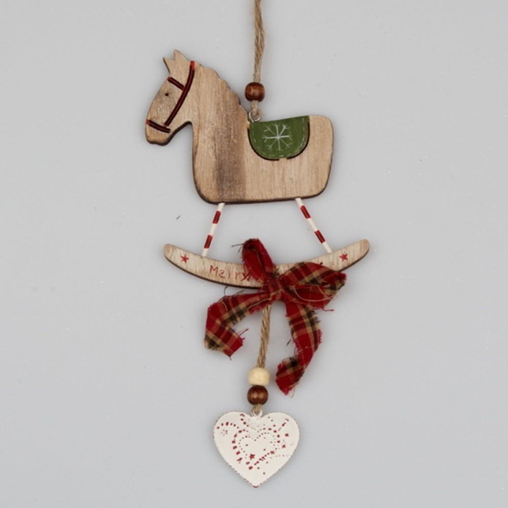 Závesná drevená dekorácia Dakls Horse Sledge