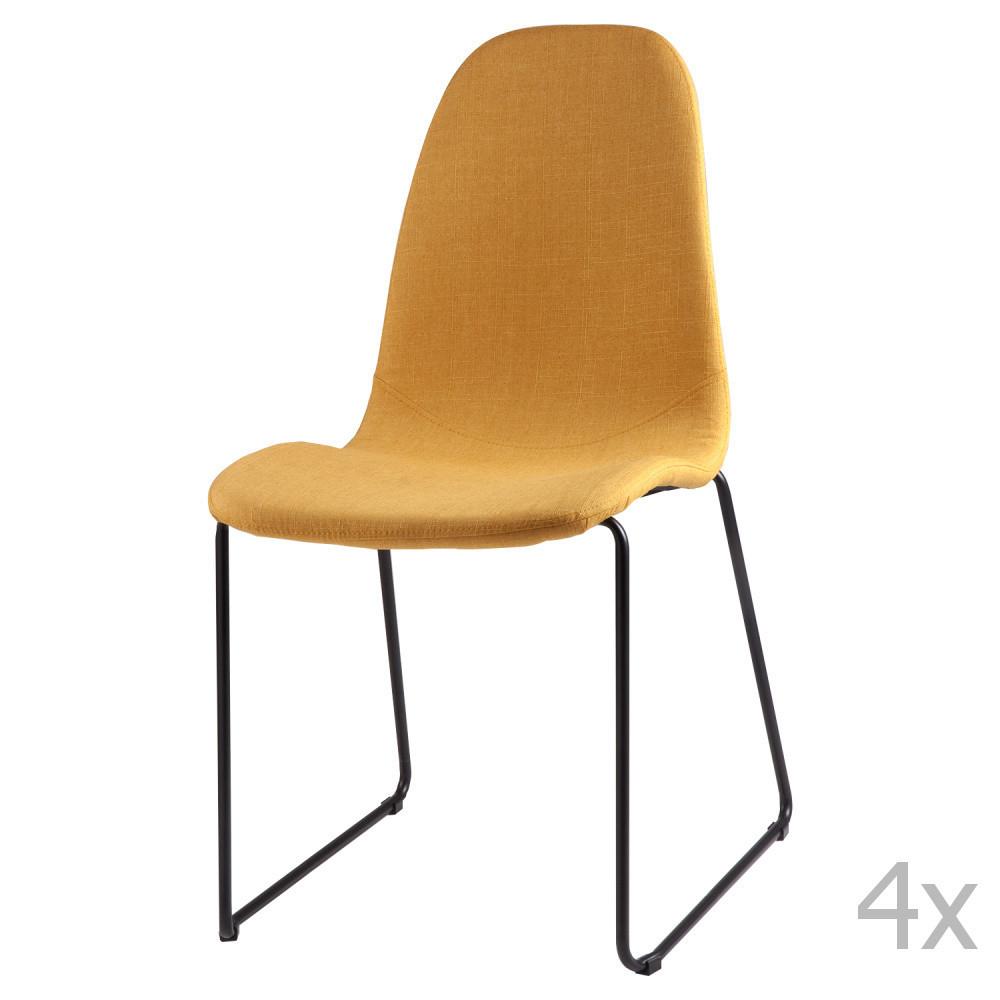 Sada 4 žltých jedálenských stoličiek sømcasa Helena