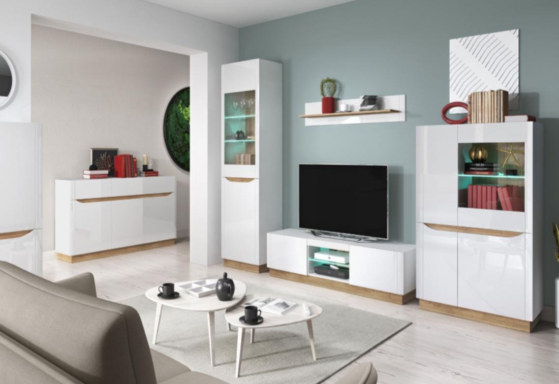 Obývací stěna BUFFY + LED, bílý lesk/dub riviera