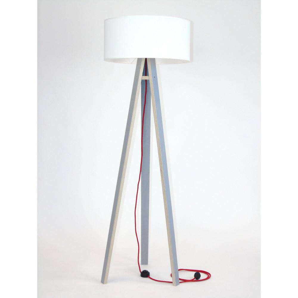Sivá stojacia lampa s bielym tienidloma červeným káblom Ragaba Wanda