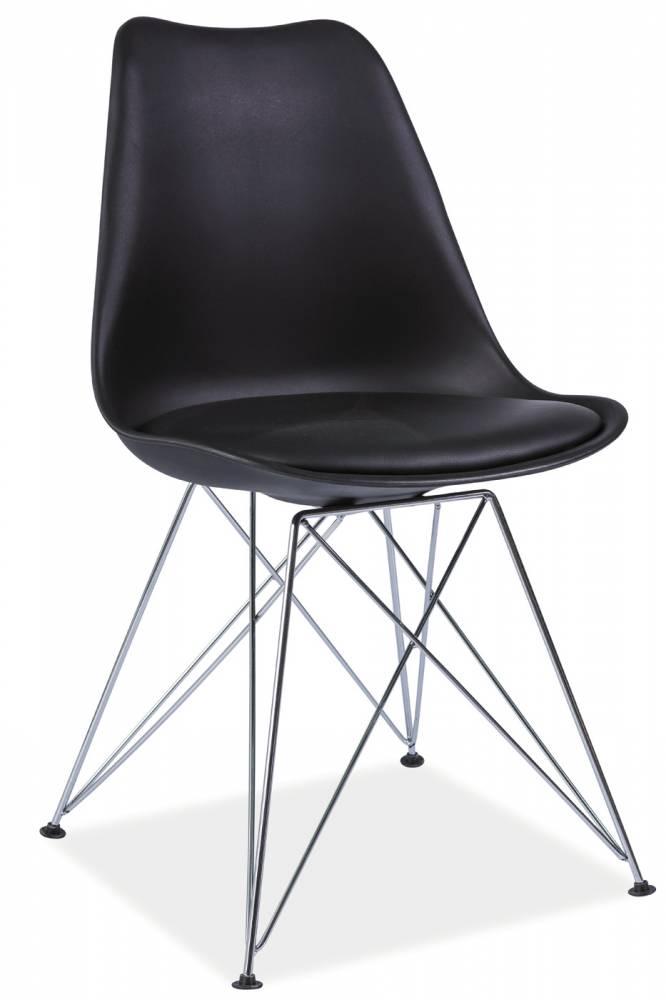 Jedálenská stolička Tim (čierna + chróm)