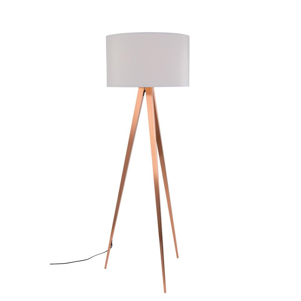 Medeno-biela stojacia lampa Zuiver Tripod