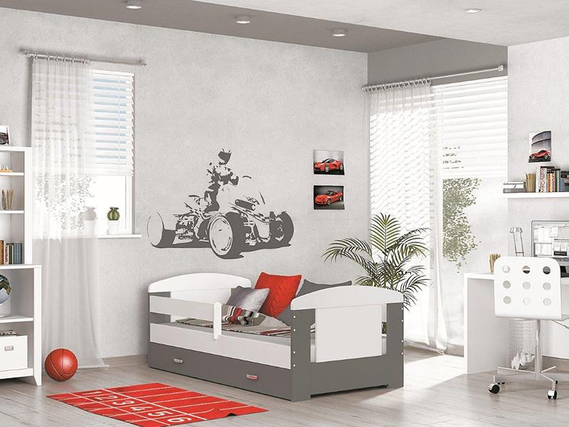 Detská posteľ FILIP COLOR s úložným priestorom   Farba: biela / sivá