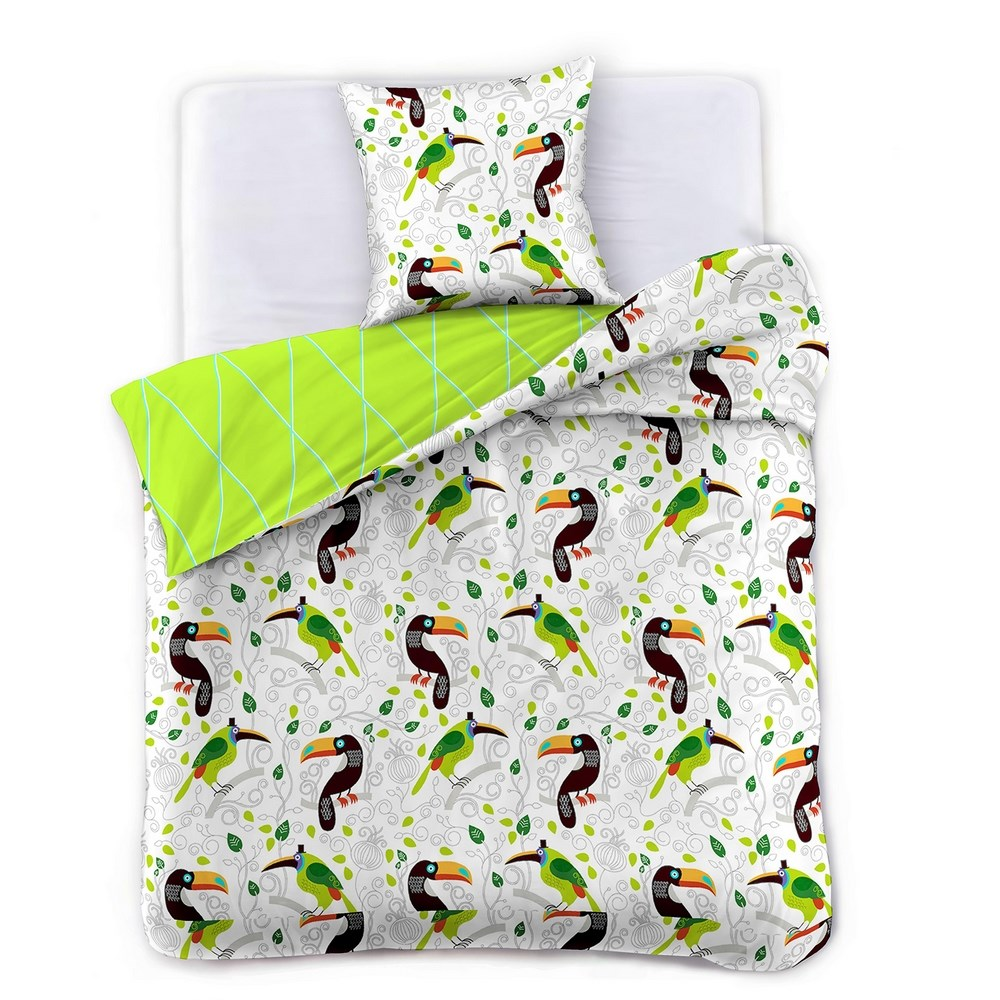 DecoKing Saténové obliečky Toucan, 140 x 200 cm, 70 x 90 cm, 140 x 200 cm, 70 x 90 cm