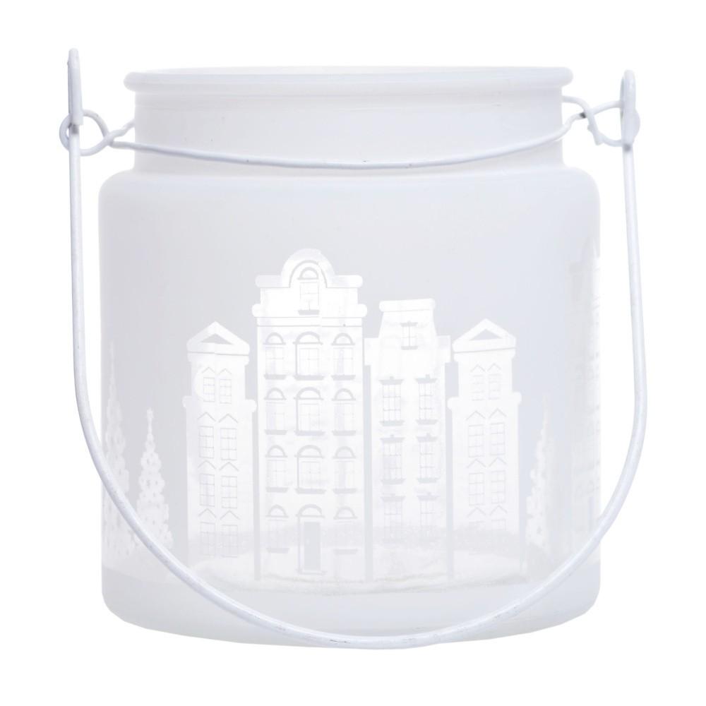 Biely sklenený svietnik Ewax Village, ⌀ 11 cm