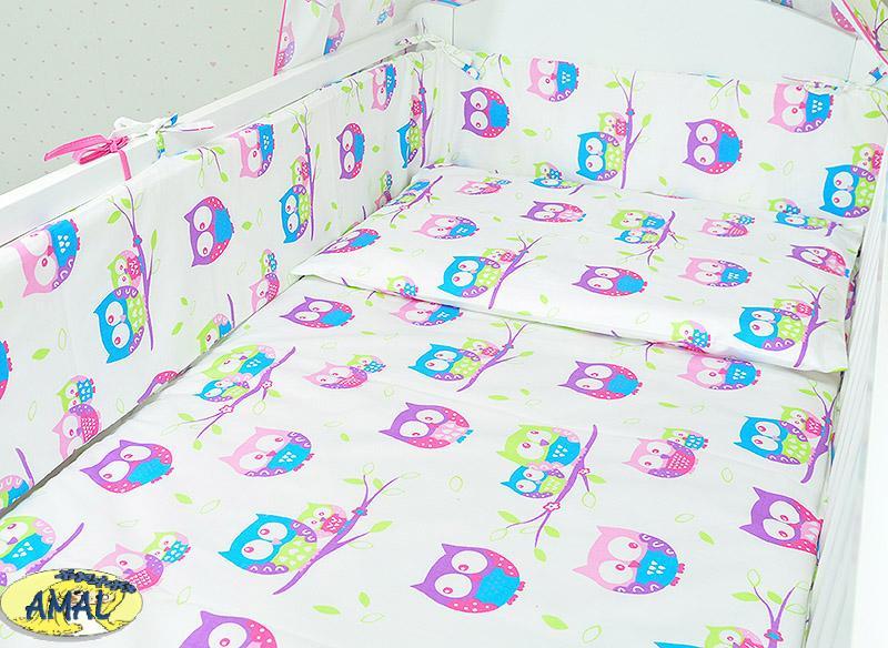 AMAL 5-dielna posteľná flanelová súprava, vzor sovičky, 120x90 c