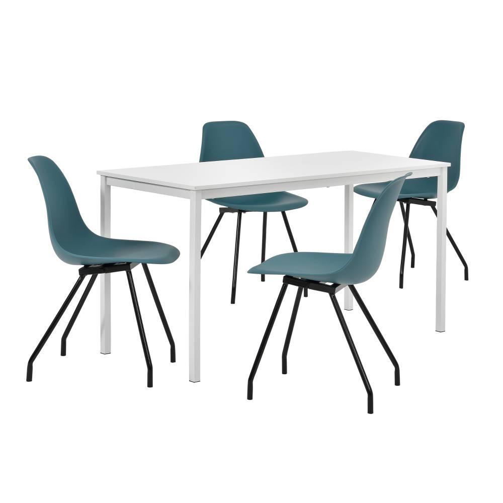 [en.casa]® Štýlová dizajnová jedálenská zostava - biely stôl - so 4 elegantnými stoličkami - tyrkysovými